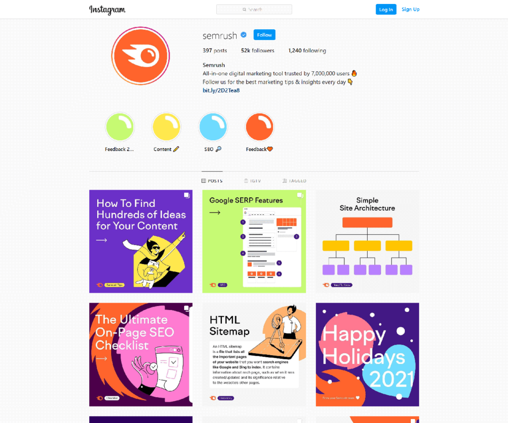 SEMrush instagram feed