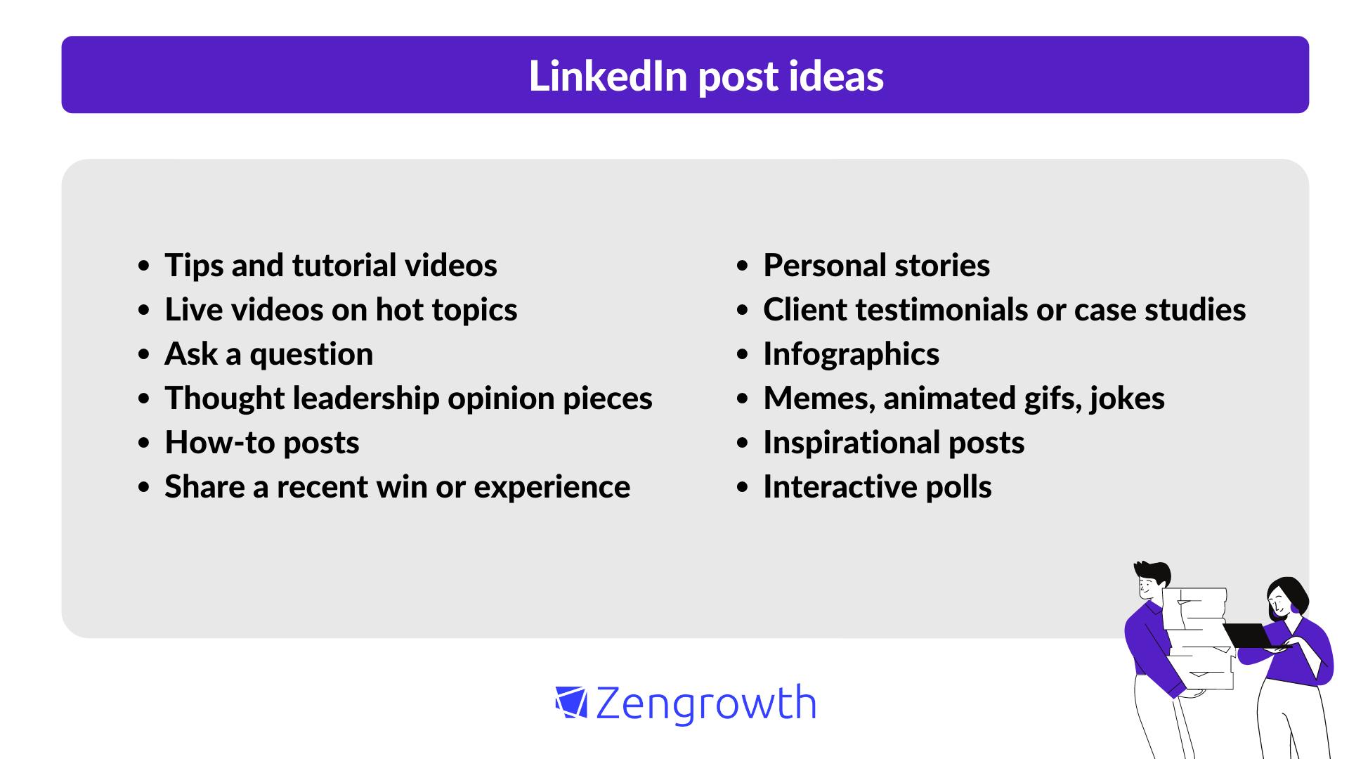 B2B Linkedin content ideas
